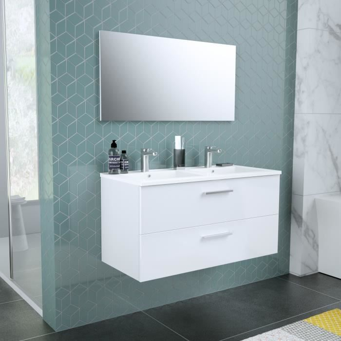 Armoire à miroir CUBA 100 cm chêne sombre-Armoire Armoire à miroir miroir badezim
