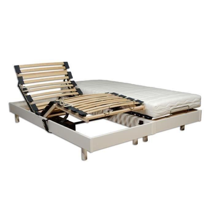 Ensemble Relaxation Talca Matelas Sommiers Electriques Decor Blanc Satine 2x80x200 Mousse 14 Cm Ferme
