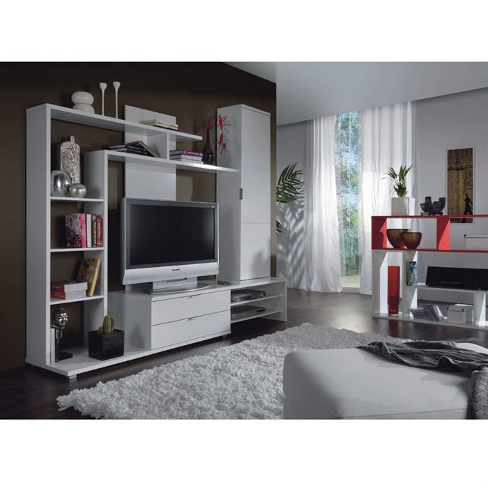 Cyka meuble tv mural 220 cm blanc achat vente salon for Meuble living blanc