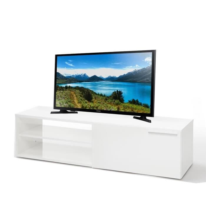 Ensemble meuble tv 130 cm blanc brillant tv samsung 32 for Meuble tv blanc 90 cm