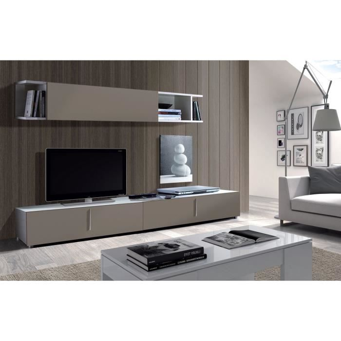 lyon meuble tv mural 200 cm gris blanc achat vente meuble tv lyon meuble tv mural panneaux. Black Bedroom Furniture Sets. Home Design Ideas
