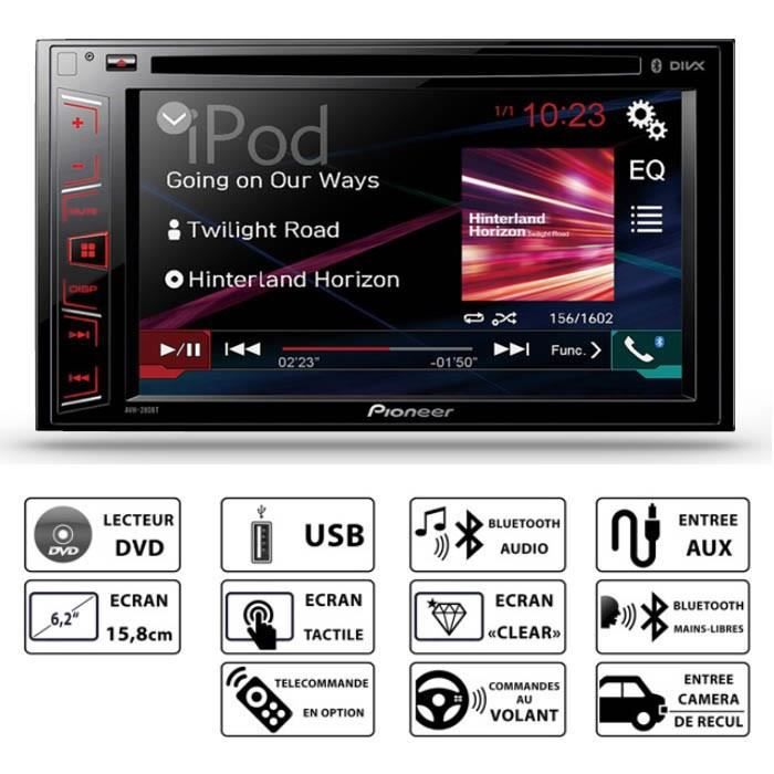 pioneer avh 280bt autoradio 6 2 bluetooth dvd usb aur achat vente autoradio pioneer avh. Black Bedroom Furniture Sets. Home Design Ideas