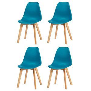 CHAISE SACHA Lot de 4 chaises de salle à manger bleu + pi