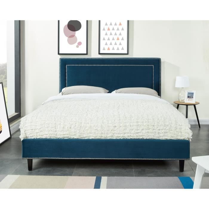flamant lit adulte sommier classique en bois velours clout bleu canard l 160 x l 200 cm. Black Bedroom Furniture Sets. Home Design Ideas