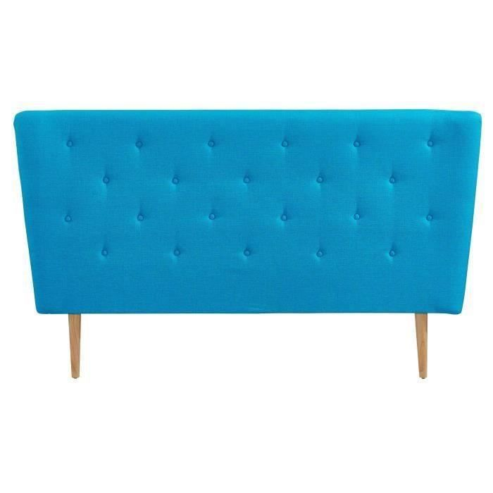 scandi t te de lit capitonn e scandinave tissu bleu turquoise l 160 cm achat vente t te. Black Bedroom Furniture Sets. Home Design Ideas