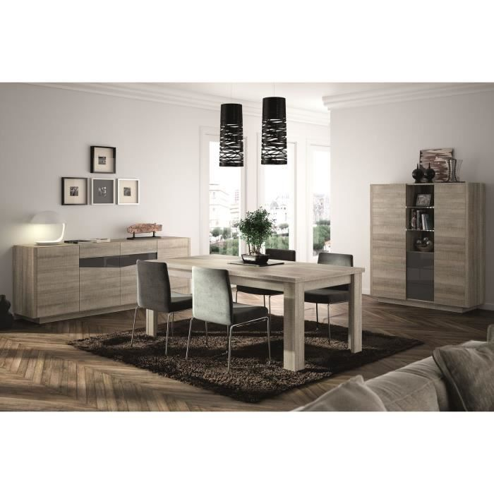 atlanta salle manger compl te coloris ch ne gris et laqu gris 7 pi ces 1 table 4 chaises. Black Bedroom Furniture Sets. Home Design Ideas