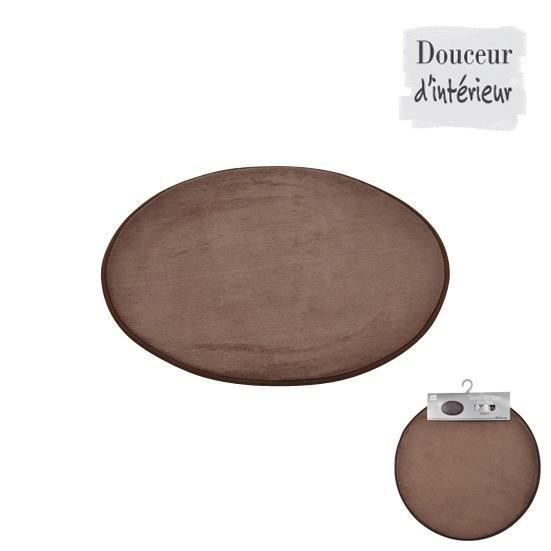 tapis de bain rond chocolat diam tre 60cm achat vente tapis de bain synth tique soldes. Black Bedroom Furniture Sets. Home Design Ideas