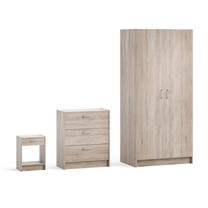 Moove pack 3 meubles armoire commode chevet achat Ensemble armoire commode chambre