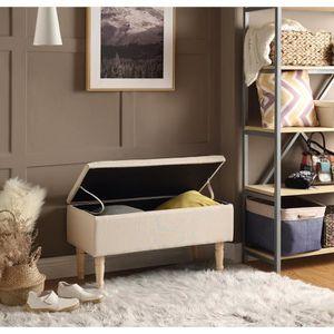 BANC EMILIE Banc avec coffre de rangement - Tissu beige