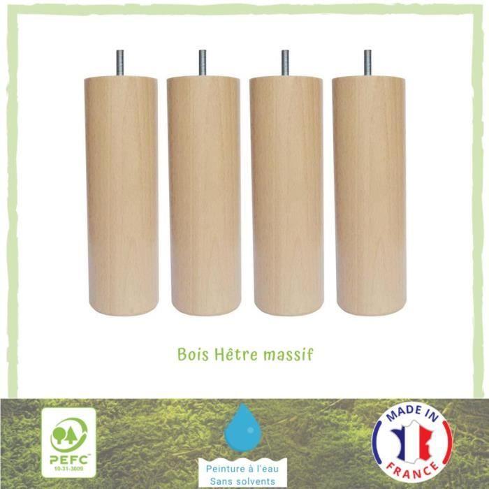 Laqu/é Blanc Mat La Fabrique de Pieds Jeu de 4 Pieds de Lit Bois 10 x 6 x 6 cm