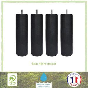 PIED DE LIT Jeu de pieds cylindriques Ø 6,2 H 24,5 cm Noir - L