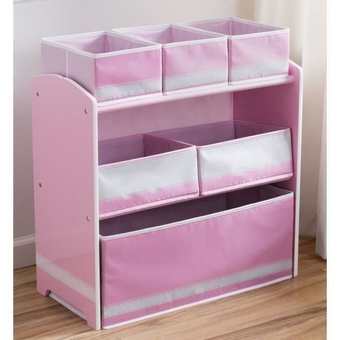 meuble de rangement enfant jouets 6 bacs rose achat. Black Bedroom Furniture Sets. Home Design Ideas