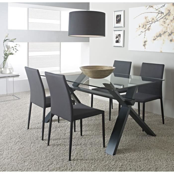 selena table de s jour 150cm verre gris anthracite achat. Black Bedroom Furniture Sets. Home Design Ideas