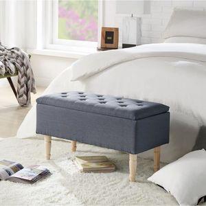 BANC EMILIE Banc avec coffre de rangement - Tissu gris