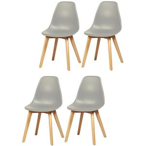 CHAISE SACHA Lot de 4 chaises de salle à manger gris - Pi