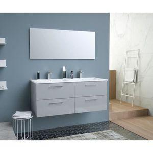 SALLE DE BAIN COMPLETE GLOSSY Meuble de Salle de bain double vasque L 120
