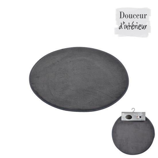 tapis de bain rond anthracite diam tre 60cm achat vente tapis de bain synth tique cdiscount. Black Bedroom Furniture Sets. Home Design Ideas