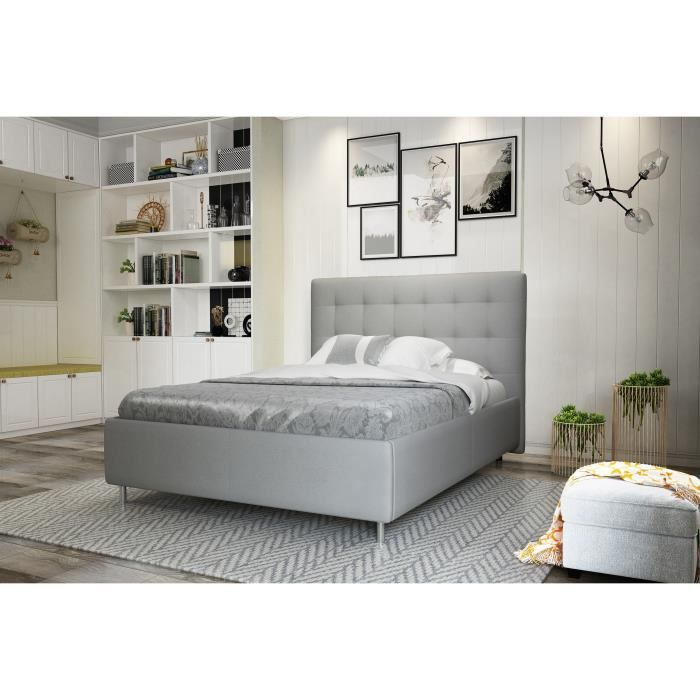 finlandek lit adulte tyyli 160x200 gris achat vente structure de lit tyyli lit 160x200 cm pu. Black Bedroom Furniture Sets. Home Design Ideas