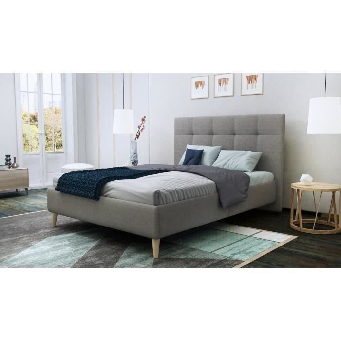 finlandek lit adulte hylki scandinave pieds en h tre massif tissu 100 polyester gris l. Black Bedroom Furniture Sets. Home Design Ideas