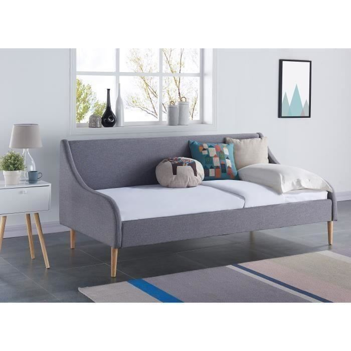 scandi lit banquette sommier scandinave tissu gris clair l 90 x l 190 cm achat vente. Black Bedroom Furniture Sets. Home Design Ideas
