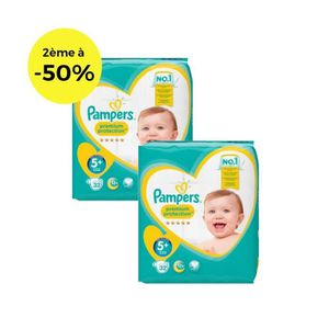 COUCHE PAMPERS Premium Protection Géant T5+ X32 Lot de 2