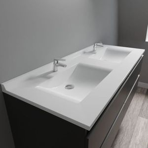 LAVABO - VASQUE CREAZUR Plan double vasque Blanc 140cm