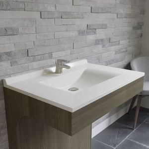 LAVABO - VASQUE CREAZUR Plan simple vasque Blanc 80cm