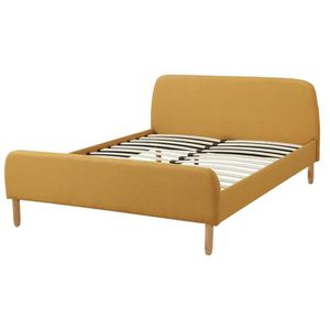 scandi lit adulte sommier scandinave tissu jaune moutarde l 140 x l 190 cm achat vente. Black Bedroom Furniture Sets. Home Design Ideas