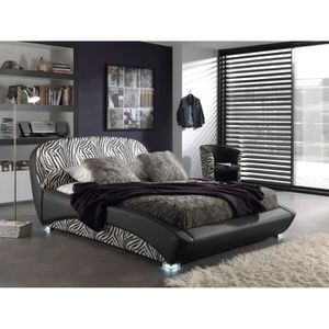 luxi lit adulte sommier 160x200 noir zebre pieds led achat vente structure de lit luxi lit. Black Bedroom Furniture Sets. Home Design Ideas