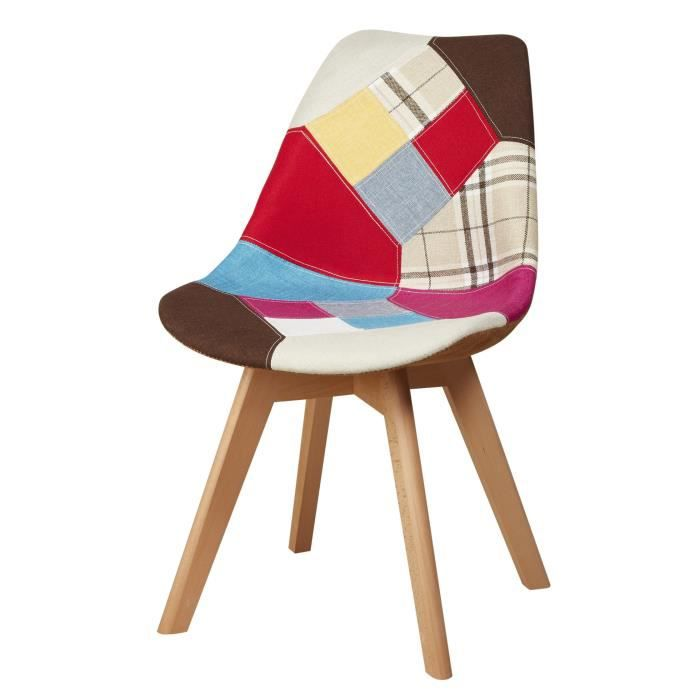 chaise martins chaise en tissu patchwork multicolore p - Chaise Scandinave Multicolore