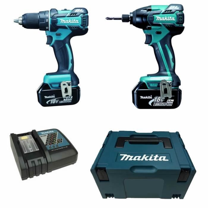 makita perceuse visseuse et visseuse chocs brushless 2x18v 4ah li ion achat vente pack de. Black Bedroom Furniture Sets. Home Design Ideas