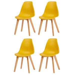 CHAISE SACHA Lot de 4 chaises de salle à manger jaune mou