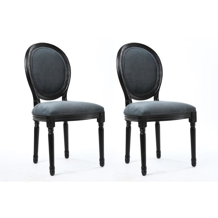 versailles lot de 2 chaises de salle manger en tissu aspect velours noir et gris achat. Black Bedroom Furniture Sets. Home Design Ideas