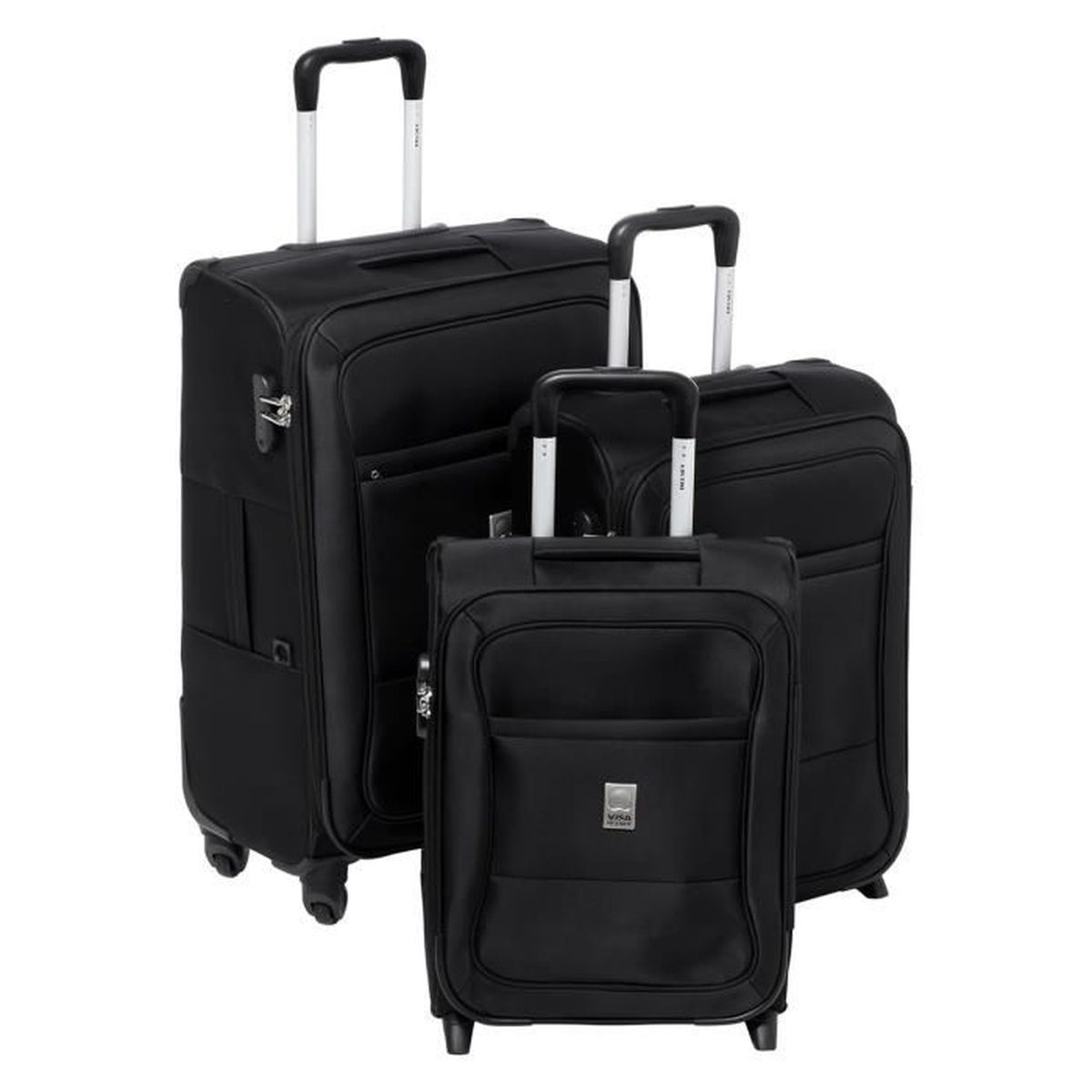 visa delsey set de 2 valises 2 roues 48 57 cm valise 4 roues 68cm souple neptune noir noir. Black Bedroom Furniture Sets. Home Design Ideas