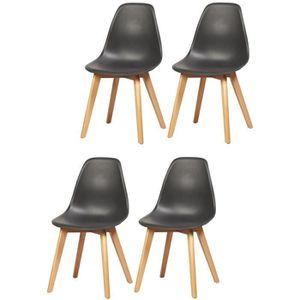CHAISE SACHA Lot de 4 chaises de salle à manger noir - Pi