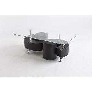 TABLE BASSE WANDA Table de salon avec 2 poufs - Simili Noir -
