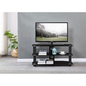 MEUBLE TV NATHAN Meuble TV en verre trempé Noir - L 90 x P 4