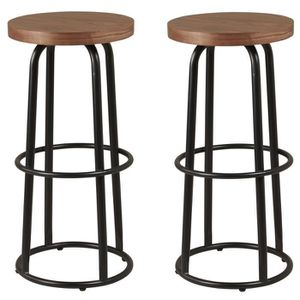 TABOURET DE BAR METALO Lot de 2 tabourets de bar - MDF décor bois