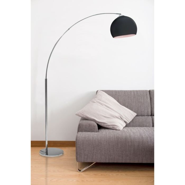 lampadaire arc noir hauteur 166cm achat vente lampadaire arc noir pied m tal chrom. Black Bedroom Furniture Sets. Home Design Ideas