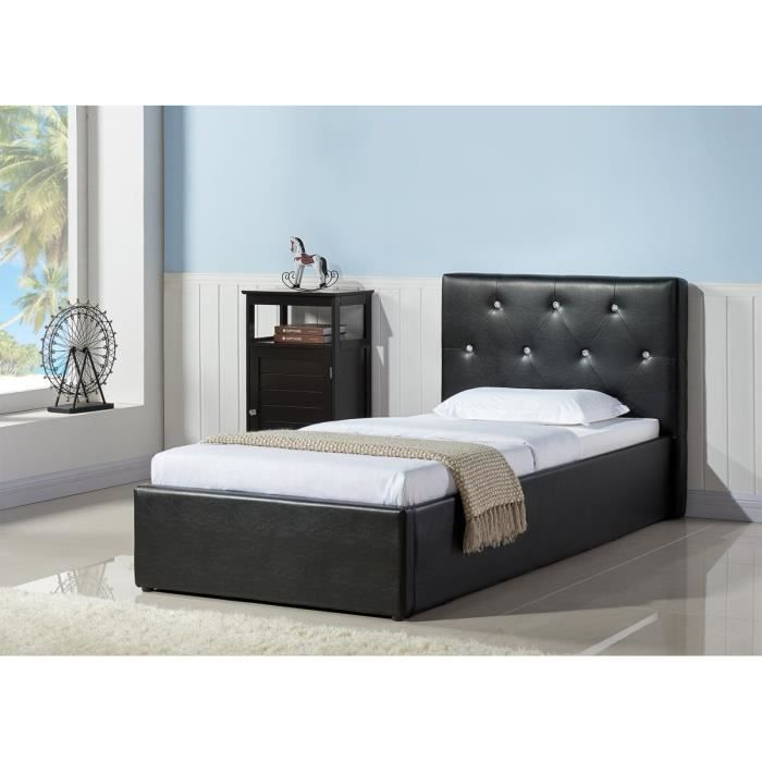 bahia lit coffre strass sommier 90x190cm noir achat vente structure de lit bahia lit. Black Bedroom Furniture Sets. Home Design Ideas