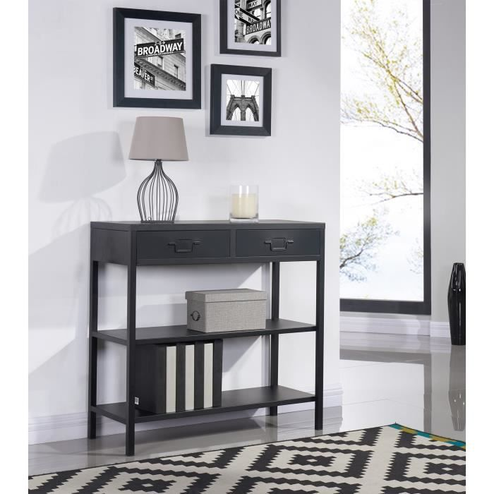 camden console en m tal 90 cm noir laqu achat vente console camden console soldes d. Black Bedroom Furniture Sets. Home Design Ideas