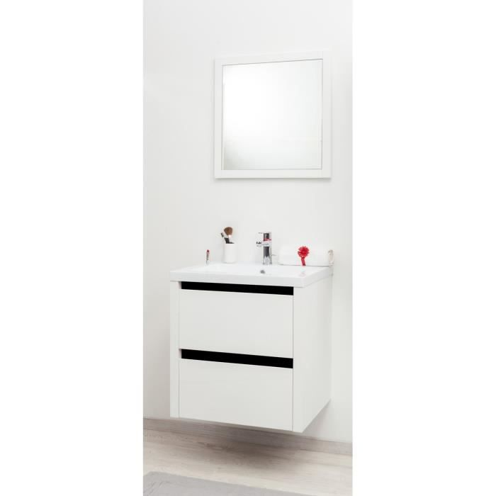 kris ensemble meuble de salle de bain 60cm noir et blanc. Black Bedroom Furniture Sets. Home Design Ideas