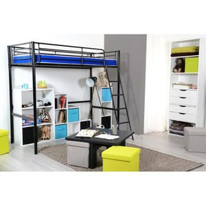 lit mezzanine 1 place achat vente lit mezzanine 1. Black Bedroom Furniture Sets. Home Design Ideas