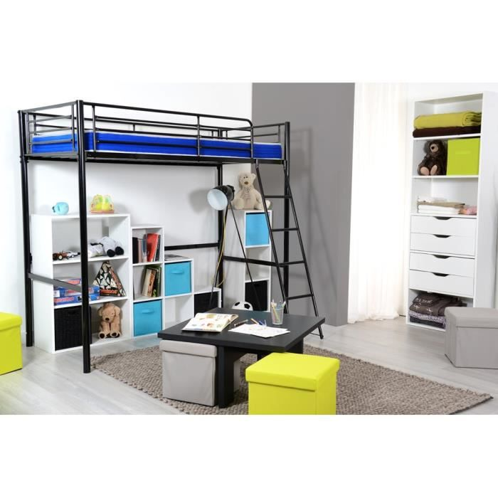 rock lit mezzanine m tal noir 90x190cm achat vente lit mezzanine rock lit mezzanine 90cm. Black Bedroom Furniture Sets. Home Design Ideas