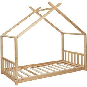 STRUCTURE DE LIT ELIE Lit cabane enfant 90 x 190 cm - Bois pin mass