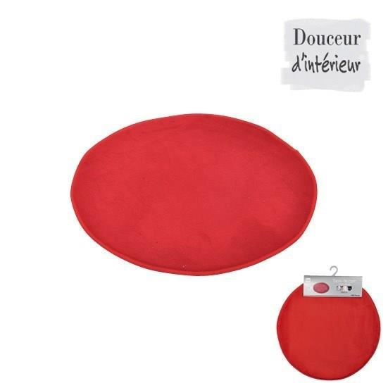 tapis de bain rond rouge diam tre 60cm achat vente tapis de bain synth tique soldes d. Black Bedroom Furniture Sets. Home Design Ideas