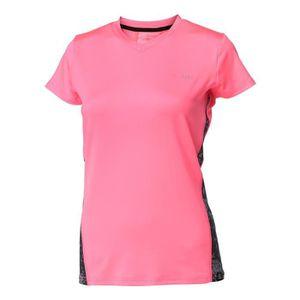 T-SHIRT LONGBOARD T-shirt Just Move Camo Rose Fluo Femme