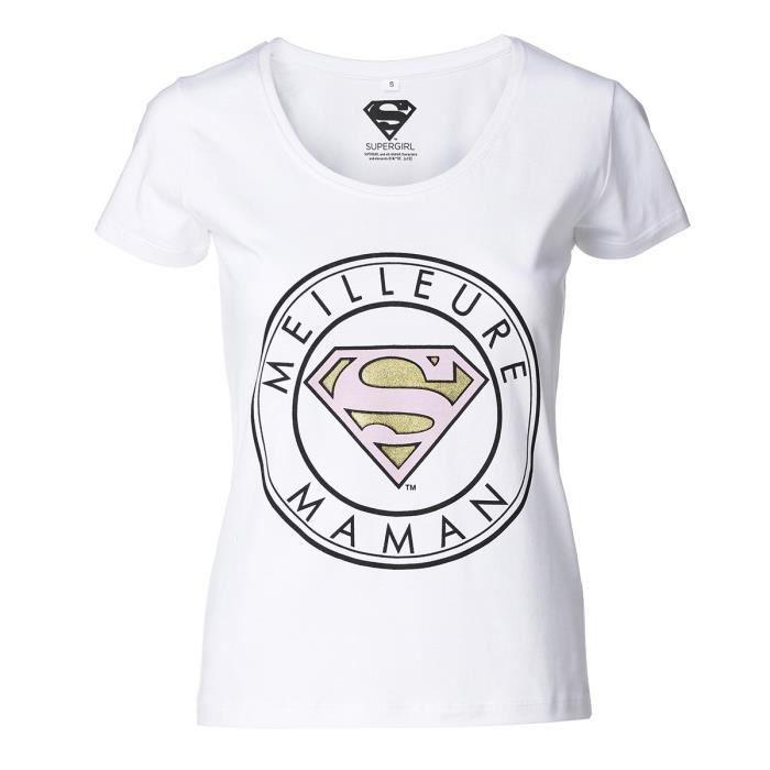 T-SHIRT SUPERWOMAN Tee-Shirt Maman manches courtes blanc F