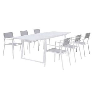 Table de jardin aluminium blanc extensible