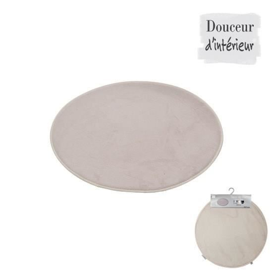 tapis de bain rond taupe diam tre 60cm achat vente tapis de bain synth tique cdiscount. Black Bedroom Furniture Sets. Home Design Ideas